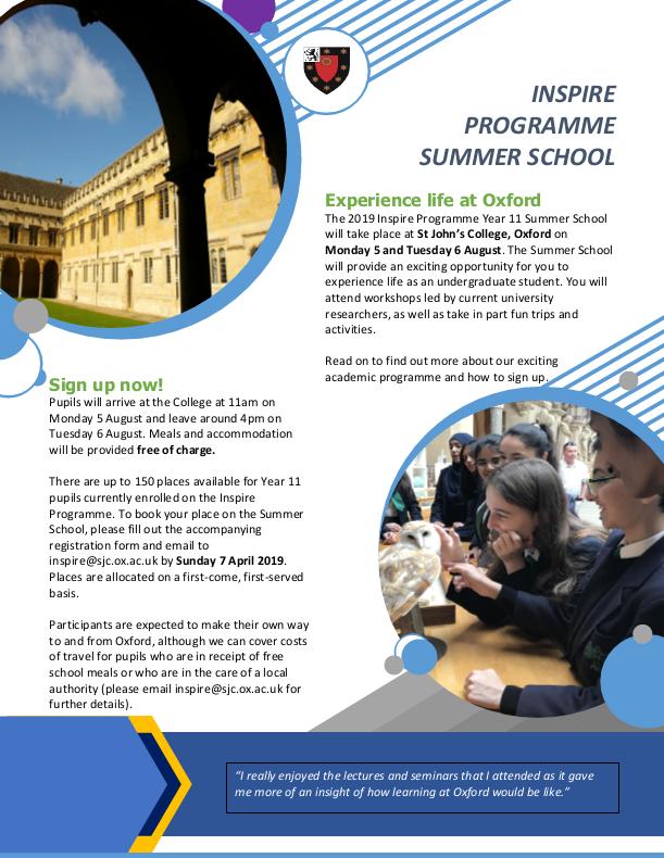 Y11 Inspire Summer School Flyer