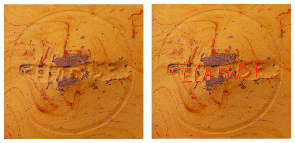 """The maker's mark CELADVS F, short for Celadus fecit (""""Celadus made it""""), from the underside of the large dish"""