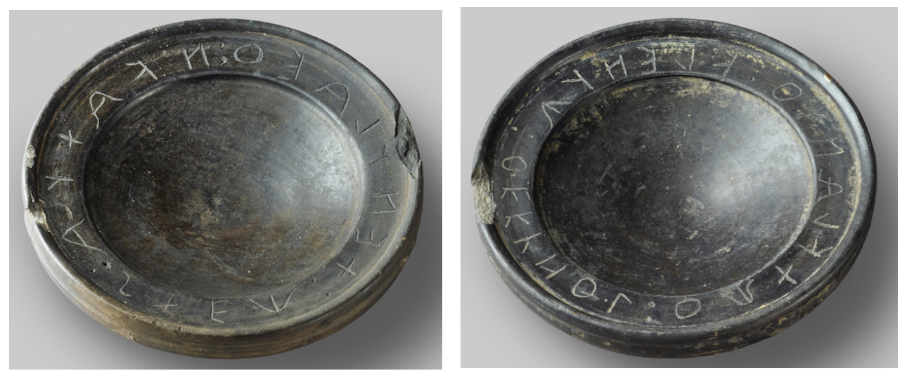 Etruscan bucchero bowls with suspicious inscriptions