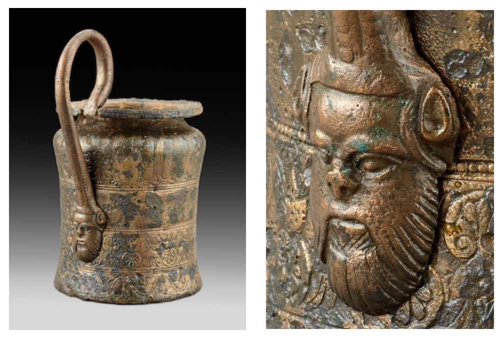 Bronze jug with a handle attachment in the shape of a satyr's head