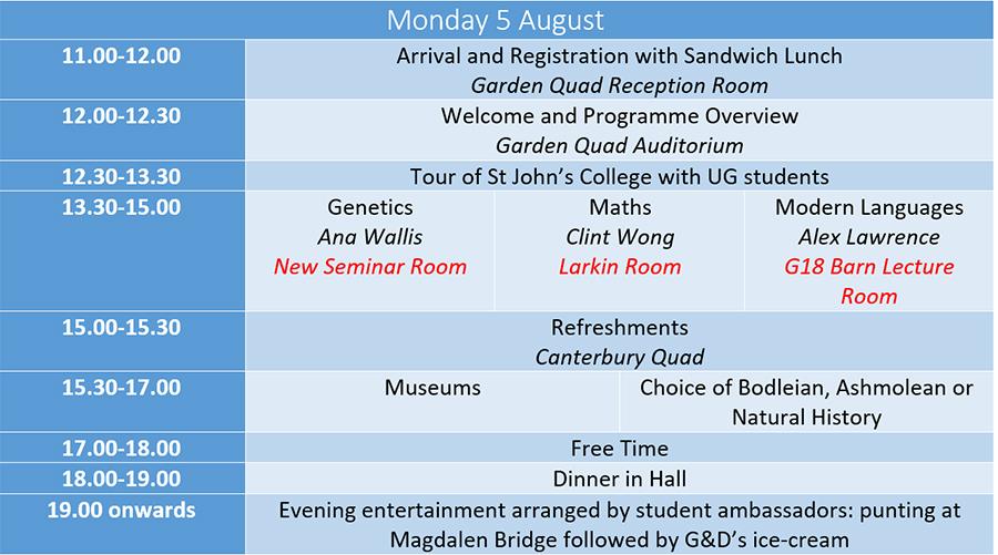 Monday Timetable