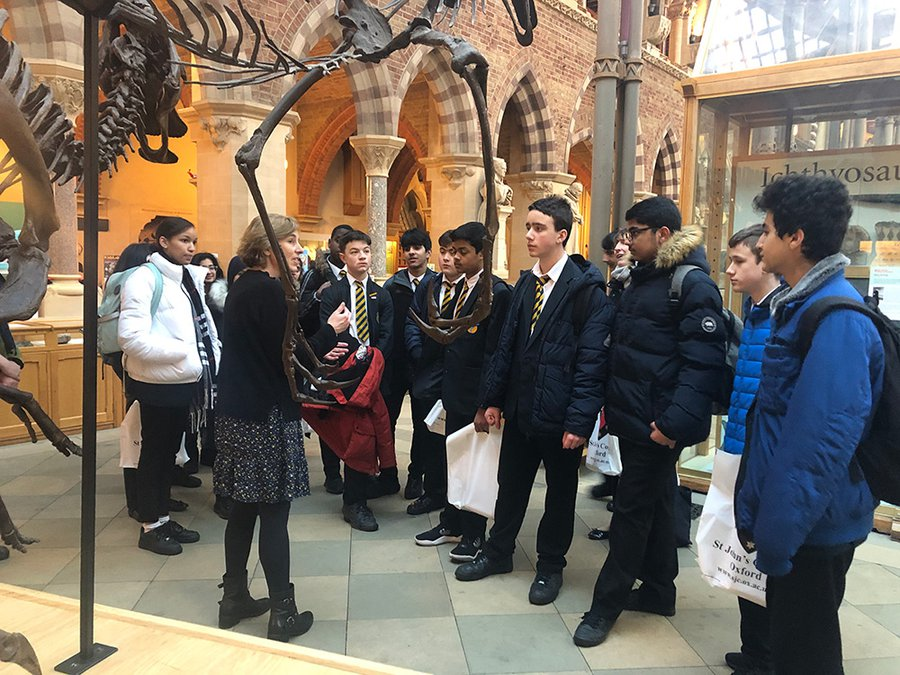 Photo of a group of visiting pupils at the Natural History Museum