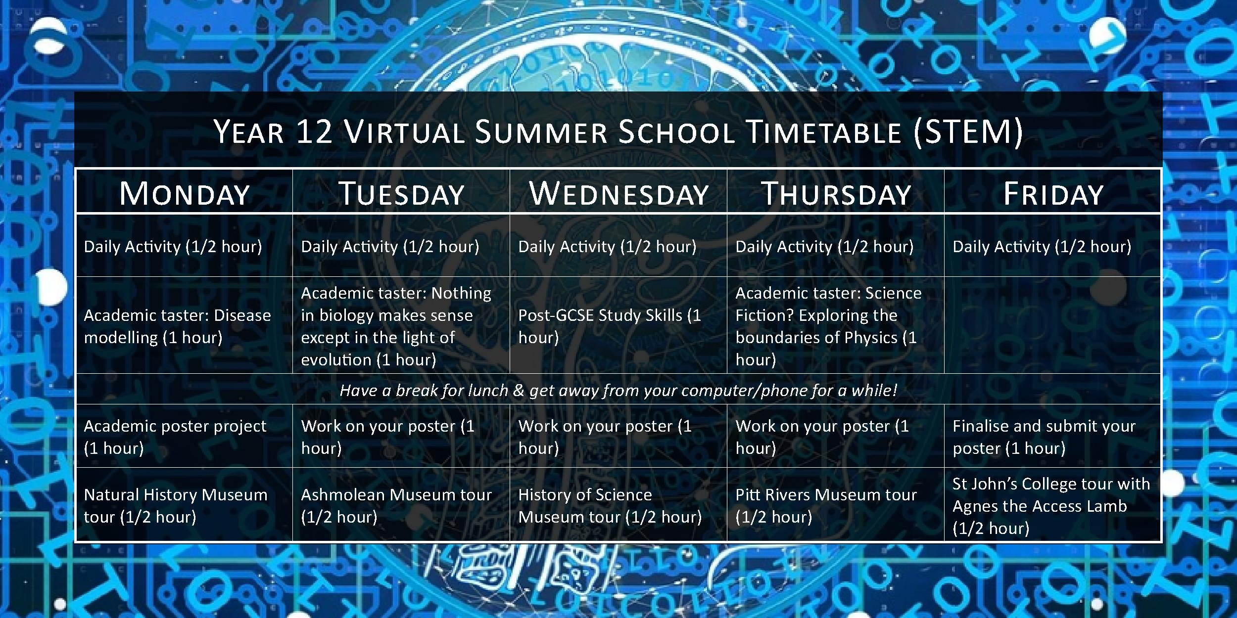 Year 12 Virtual Summer School timetable (STEM)